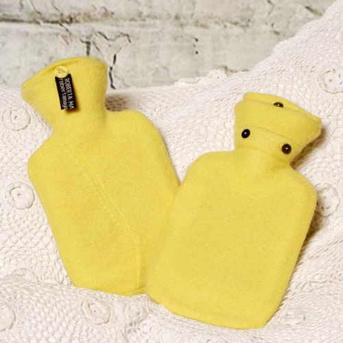 Summer Lemon Coloured Cashmere Hot Water Bottle Cover