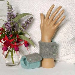 Sage Green and Grey Cashmere Wrist Warmers