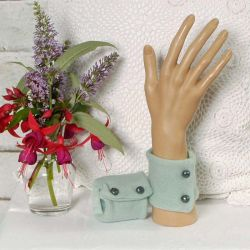 Soft Turquoise Cashmere Wrist Warmers