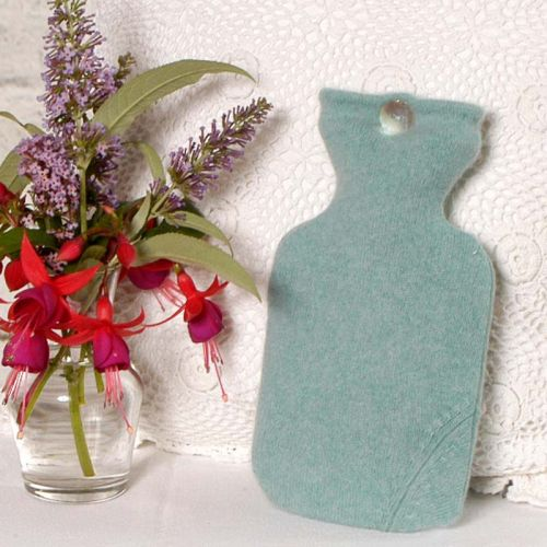 Sage Green 100% Cashmere Hot Water Bottle Cover