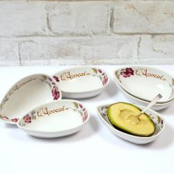 French Avocado Dishes with Flower Patterned Edging