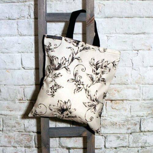 Black Flowered and Ivory Shopping Tote Bag