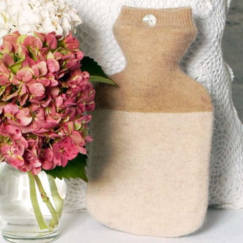 Two Tone Beige and Camel Coloured Cashmere Hot Water Bottle Caver