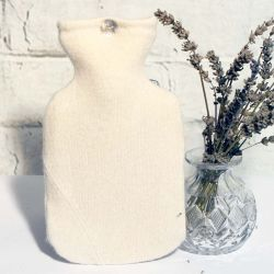 Ivory Coloured 100% Knitted Cashmere Hot Water Bottle Cover