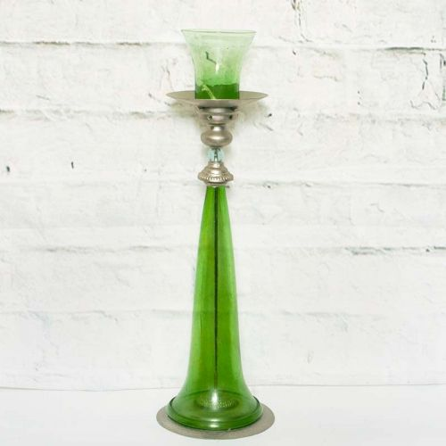 French Green Glass Oil Lamp