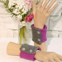 Two Colour Wrist Warmers in Grey and Dark Cerise