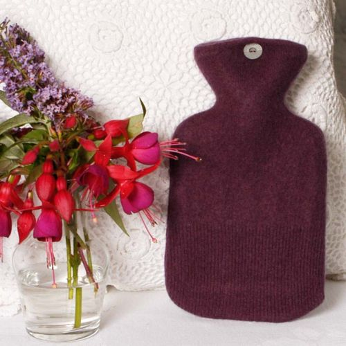 Aubergine coloured 100% Cashmere Hot Water Bottle Cover