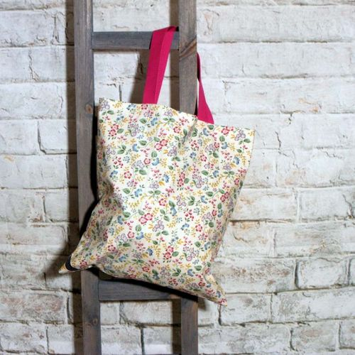 Pretty Flowered Cotton Bag