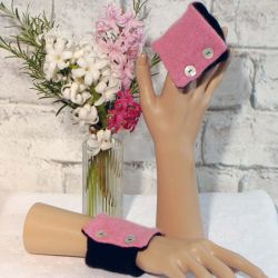 Rose Pink and Black Cashmere Wrist Warmers