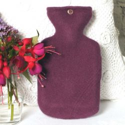 Plum Coloured 100% Cashmere Hot Water Bottle Cover